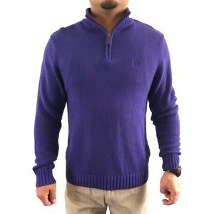 Chaps 1/4 Zip Pullover Sweater Royal Purple Small